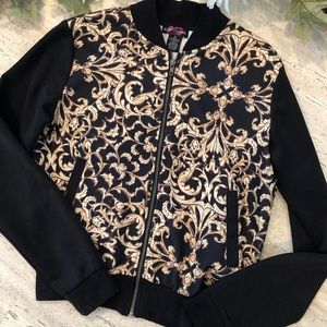 Body Central black and gold scroll print jacket
